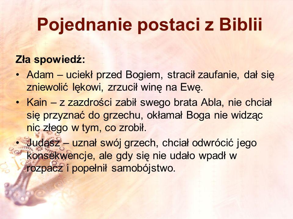 Pojednanie postaci z Biblii Zła spowiedź: Adam – uciekł przed Bogiem, stracił zaufanie, dał się zniewolić lękowi, zrzucił winę na Ewę. Kain – z zazdro