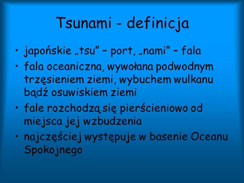 Tsunami - definicja japońskie tsu – port, nami – fala fala oceaniczna, wywołana podwodnym trzęsieniem ziemi, wybuchem wulkanu bądź osuwiskiem ziemi fa