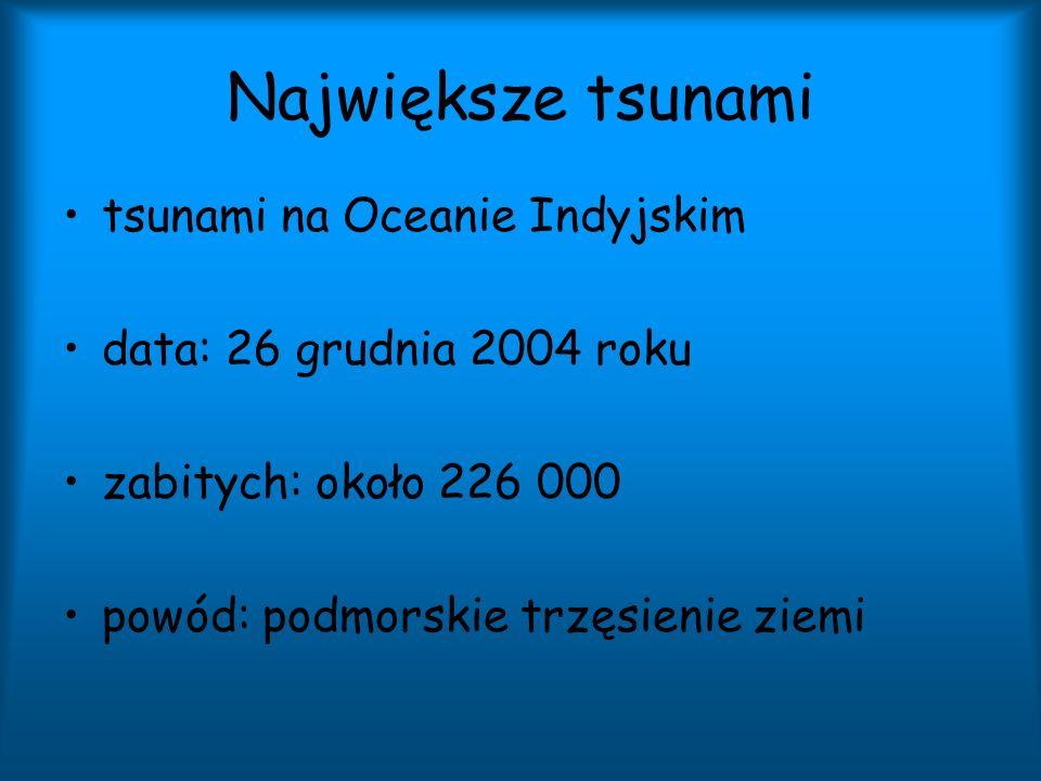 Największe tsunami tsunami na Oceanie Indyjskim data: 26 grudnia 2004 roku zabitych: około 226 000 powód: podmorskie trzęsienie ziemi