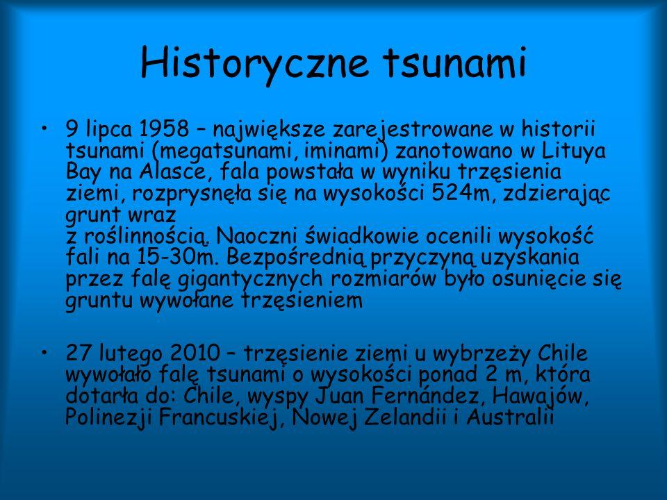 Historyczne tsunami 9 lipca 1958 – największe zarejestrowane w historii tsunami (megatsunami, iminami) zanotowano w Lituya Bay na Alasce, fala powstał