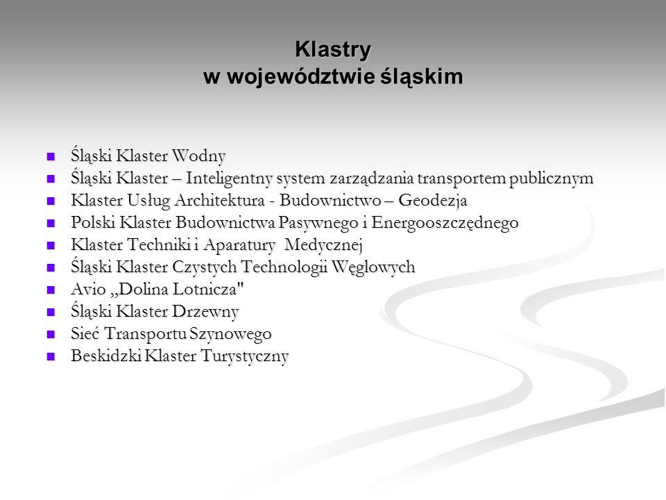 Klastry w województwie śląskim Śląski Klaster Wodny Śląski Klaster Wodny Śląski Klaster – Inteligentny system zarządzania transportem publicznym Śląsk