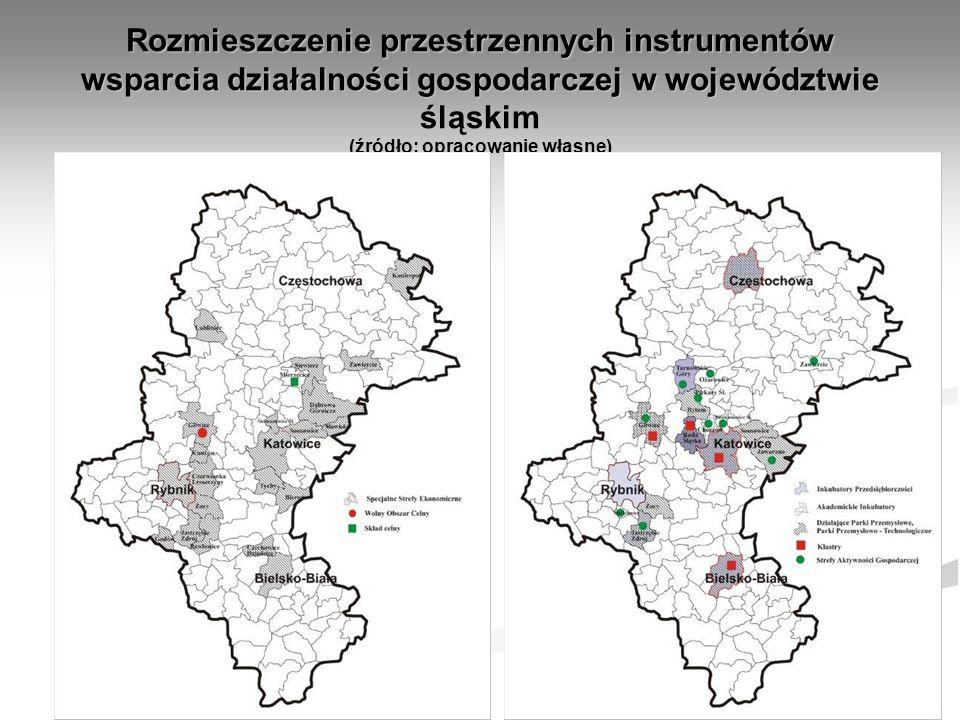 Rozmieszczenie przestrzennych instrumentów wsparcia działalności gospodarczej w województwie śląskim (źródło: opracowanie własne)