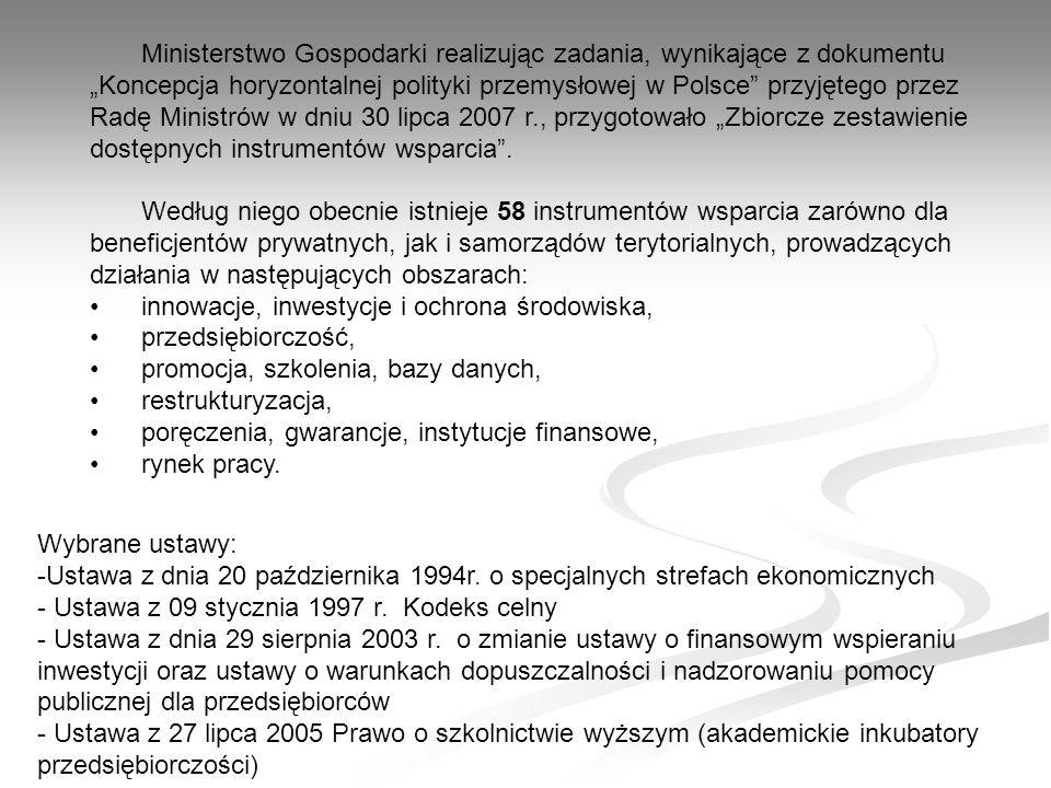 Ministerstwo Gospodarki realizując zadania, wynikające z dokumentu Koncepcja horyzontalnej polityki przemysłowej w Polsce przyjętego przez Radę Ministrów w dniu 30 lipca 2007 r., przygotowało Zbiorcze zestawienie dostępnych instrumentów wsparcia.