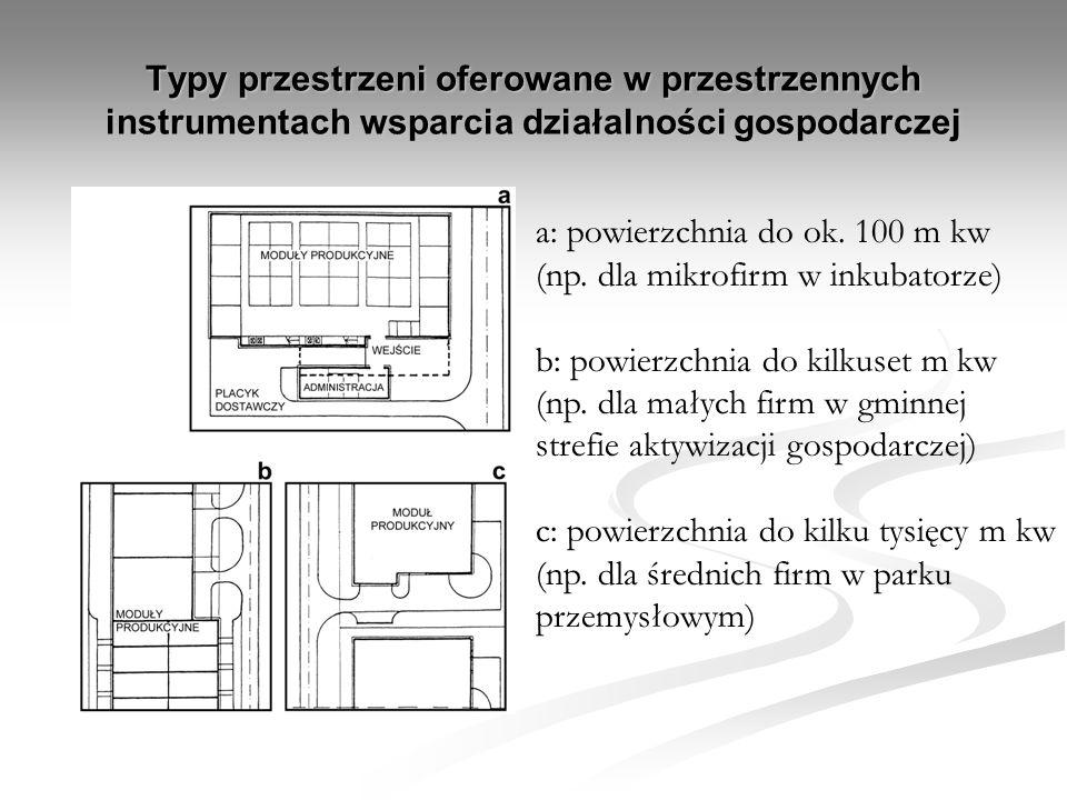 Typy przestrzeni oferowane w przestrzennych instrumentach wsparcia działalności gospodarczej a: powierzchnia do ok. 100 m kw (np. dla mikrofirm w inku