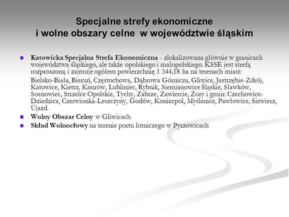 Specjalne strefy ekonomiczne i wolne obszary celne w województwie śląskim Katowicka Specjalna Strefa Ekonomiczna - zlokalizowana głównie w granicach województwa śląskiego, ale także opolskiego i małopolskiego.