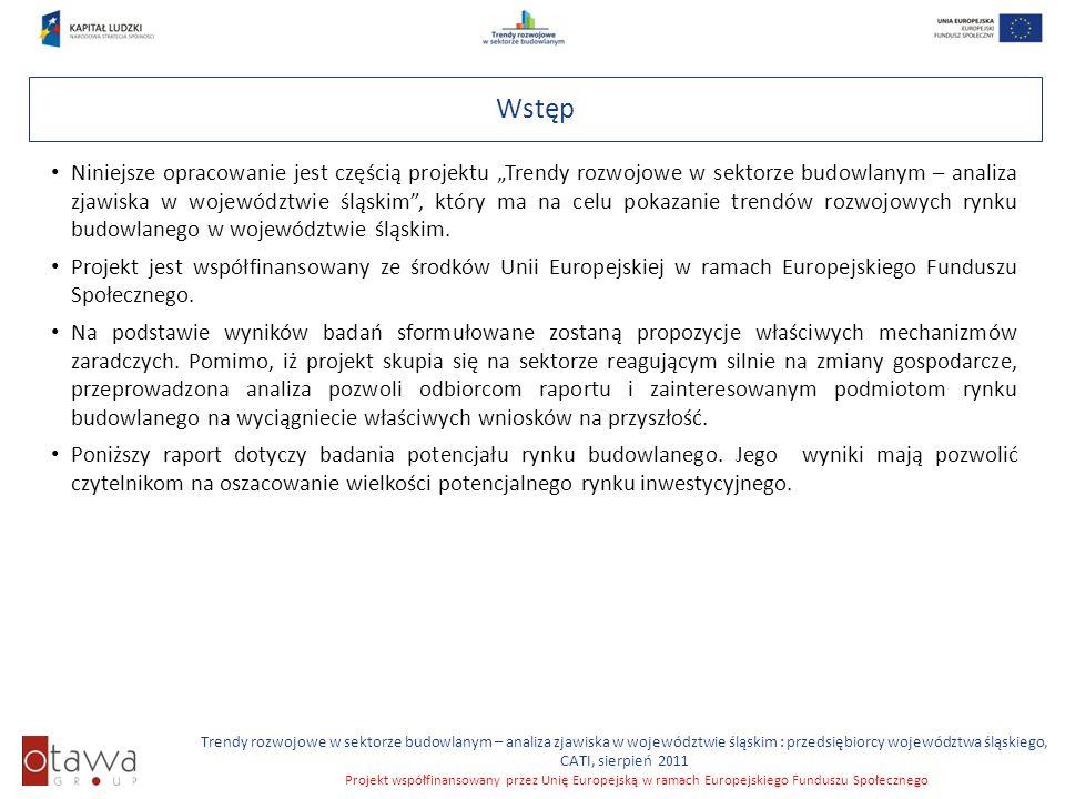 Trendy rozwojowe w sektorze budowlanym – analiza zjawiska w województwie śląskim : przedsiębiorcy województwa śląskiego, CATI, sierpień 2011 Projekt współfinansowany przez Unię Europejską w ramach Europejskiego Funduszu Społecznego Aktualnie zajmowane powierzchnie