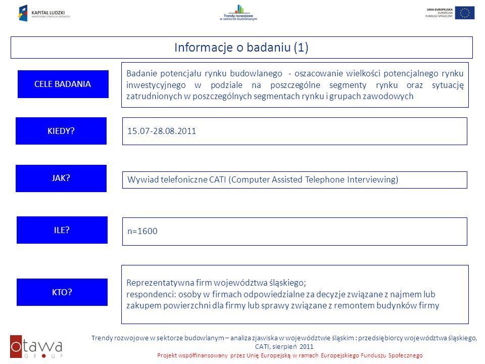 Slajd 4 Trendy rozwojowe w sektorze budowlanym – analiza zjawiska w województwie śląskim : przedsiębiorcy województwa śląskiego, CATI, sierpień 2011 P