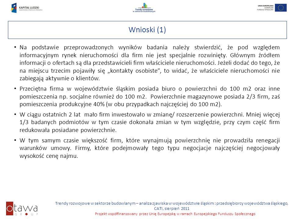 Slajd 8 Trendy rozwojowe w sektorze budowlanym – analiza zjawiska w województwie śląskim : przedsiębiorcy województwa śląskiego, CATI, sierpień 2011 Projekt współfinansowany przez Unię Europejską w ramach Europejskiego Funduszu Społecznego Wnioski (2) Przeprowadzone badanie pokazują, że w firmach województwa śląskiego odczuwany jest deficyt powierzchni w stosunku do potrzeb.