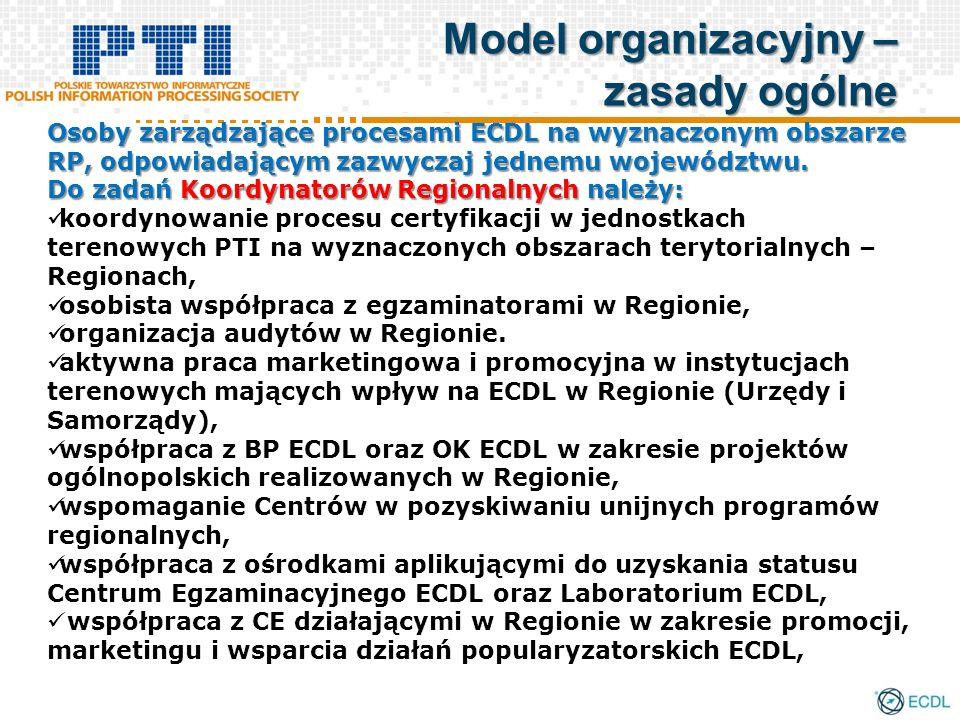 Osoby zarządzające procesami ECDL na wyznaczonym obszarze RP, odpowiadającym zazwyczaj jednemu województwu. Do zadań Koordynatorów Regionalnych należy