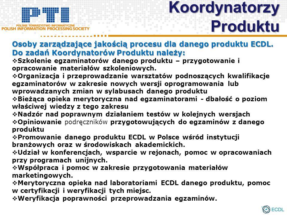 Koordynatorzy Produktu Osoby zarządzające jakością procesu dla danego produktu ECDL. Do zadań Koordynatorów Produktu należy: Szkolenie egzaminatorów d