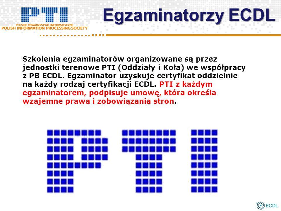 Egzaminatorzy ECDL Szkolenia egzaminatorów organizowane są przez jednostki terenowe PTI (Oddziały i Koła) we współpracy z PB ECDL.