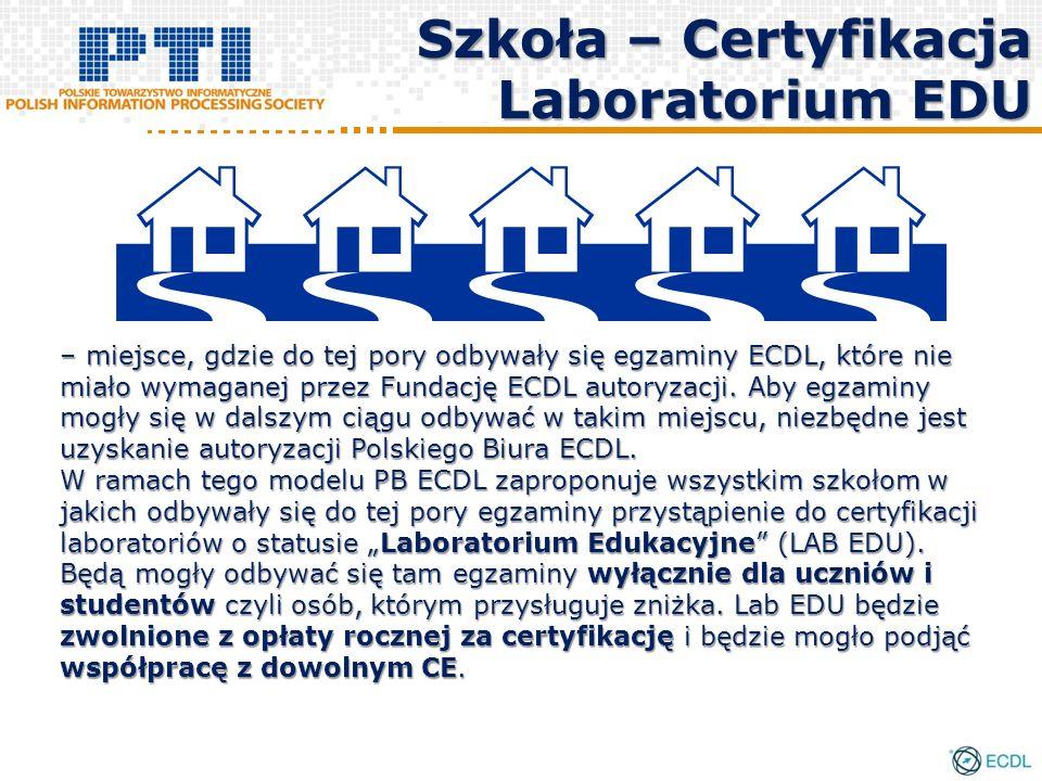 Szkoła – Certyfikacja Laboratorium EDU – miejsce, gdzie do tej pory odbywały się egzaminy ECDL, które nie miało wymaganej przez Fundację ECDL autoryzacji.