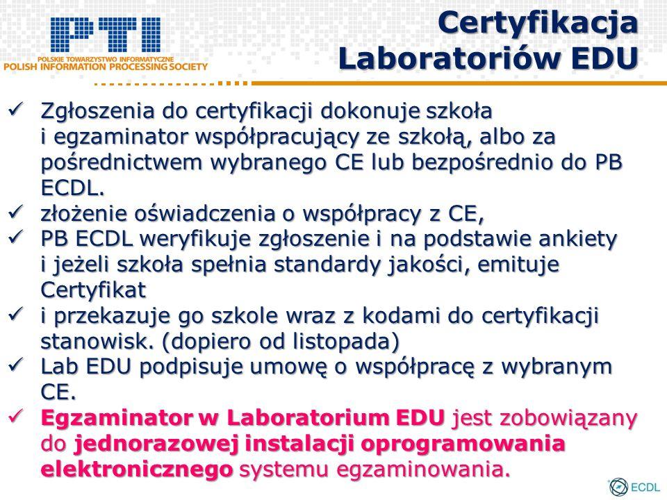 Zgłoszenia do certyfikacji dokonuje szkoła i egzaminator współpracujący ze szkołą, albo za pośrednictwem wybranego CE lub bezpośrednio do PB ECDL.