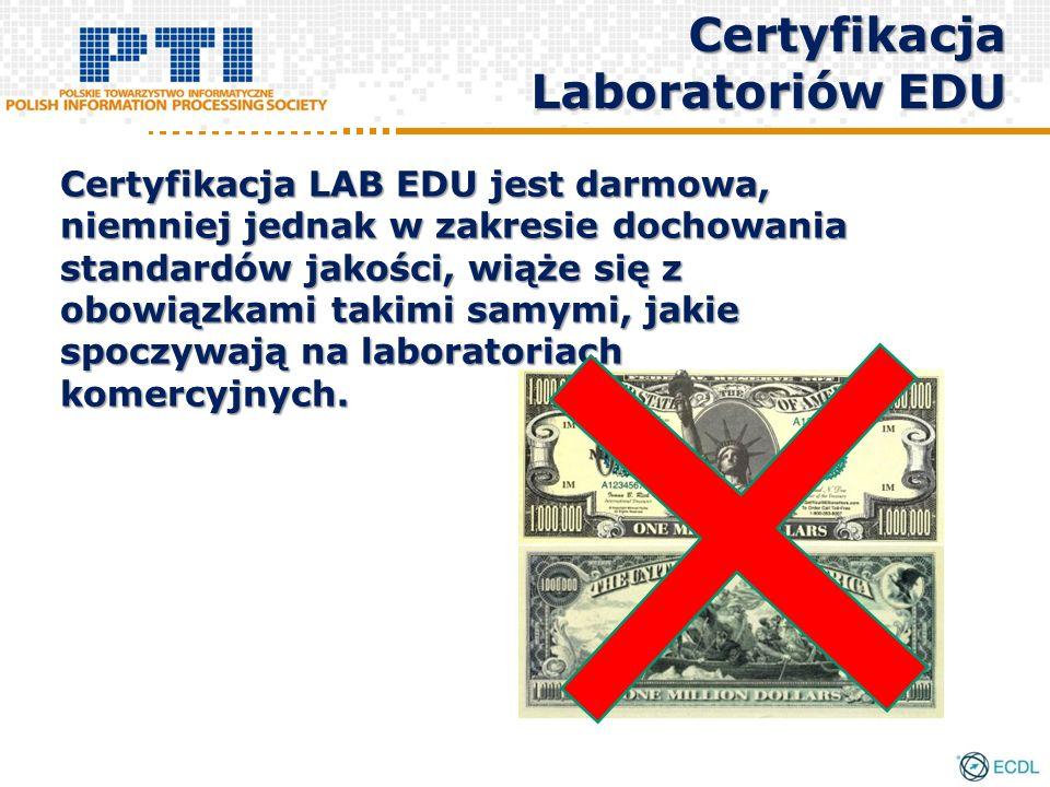 Certyfikacja LAB EDU jest darmowa, niemniej jednak w zakresie dochowania standardów jakości, wiąże się z obowiązkami takimi samymi, jakie spoczywają n