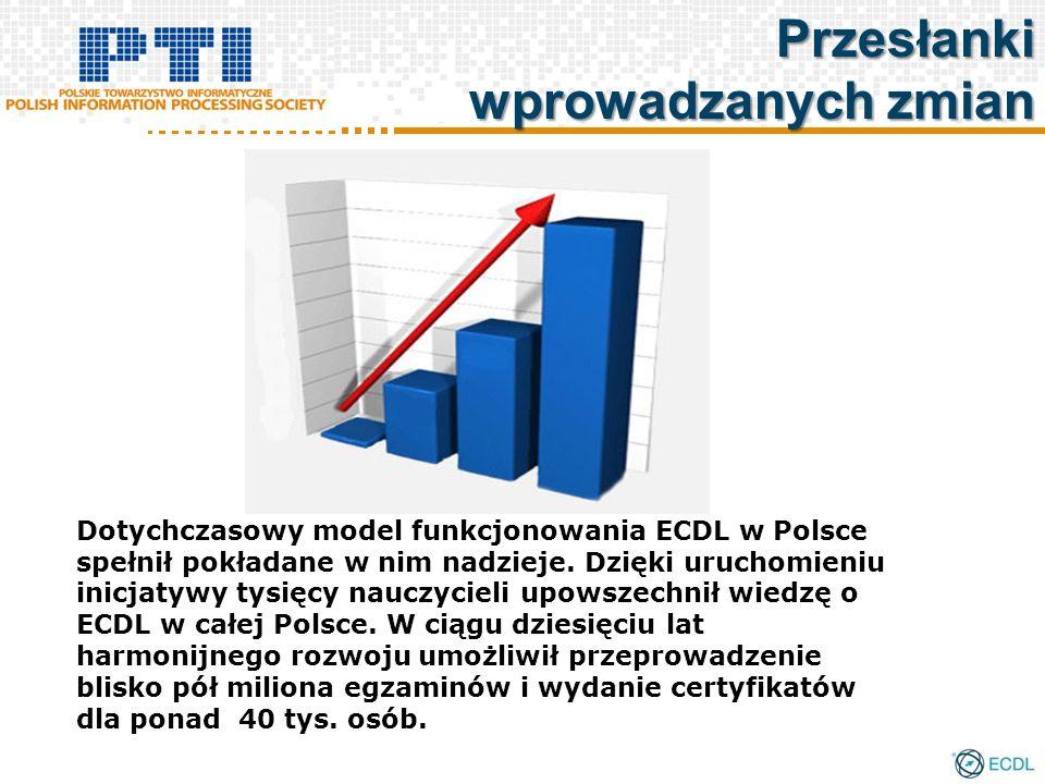 Przesłanki wprowadzanych zmian Dotychczasowy model funkcjonowania ECDL w Polsce spełnił pokładane w nim nadzieje. Dzięki uruchomieniu inicjatywy tysię