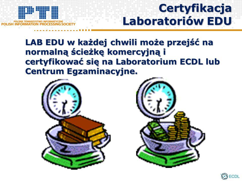 LAB EDU w każdej chwili może przejść na normalną ścieżkę komercyjną i certyfikować się na Laboratorium ECDL lub Centrum Egzaminacyjne. Certyfikacja La