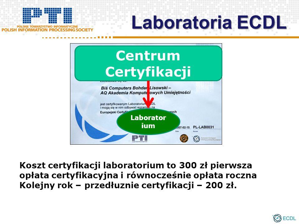 Laboratoria ECDL Koszt certyfikacji laboratorium to 300 zł pierwsza opłata certyfikacyjna i równocześnie opłata roczna Kolejny rok – przedłuznie certyfikacji – 200 zł.