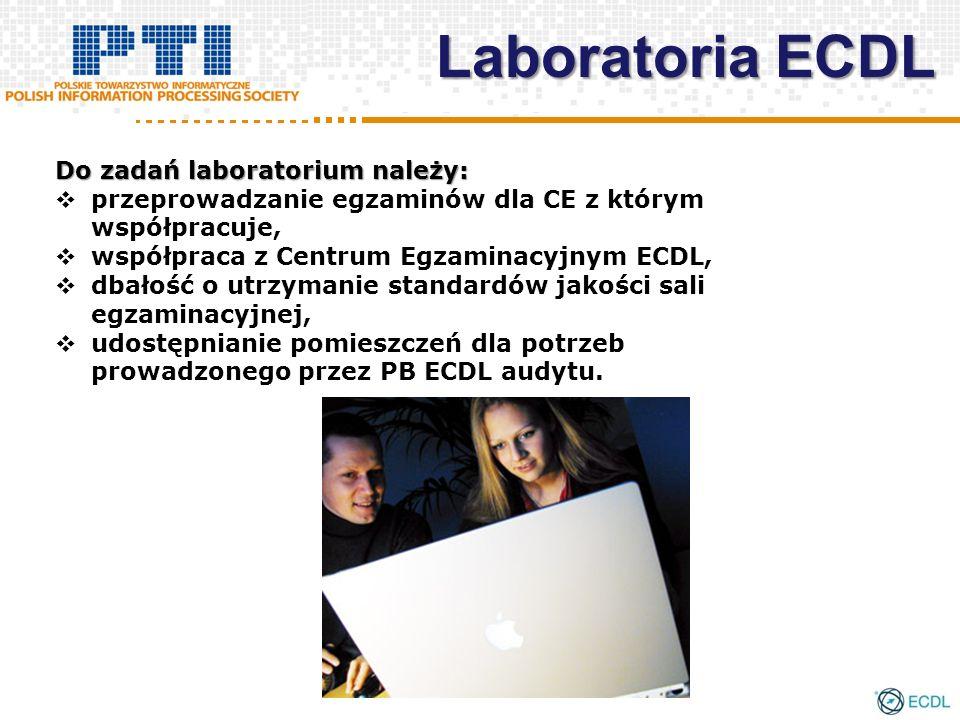 Do zadań laboratorium należy: przeprowadzanie egzaminów dla CE z którym współpracuje, współpraca z Centrum Egzaminacyjnym ECDL, dbałość o utrzymanie s