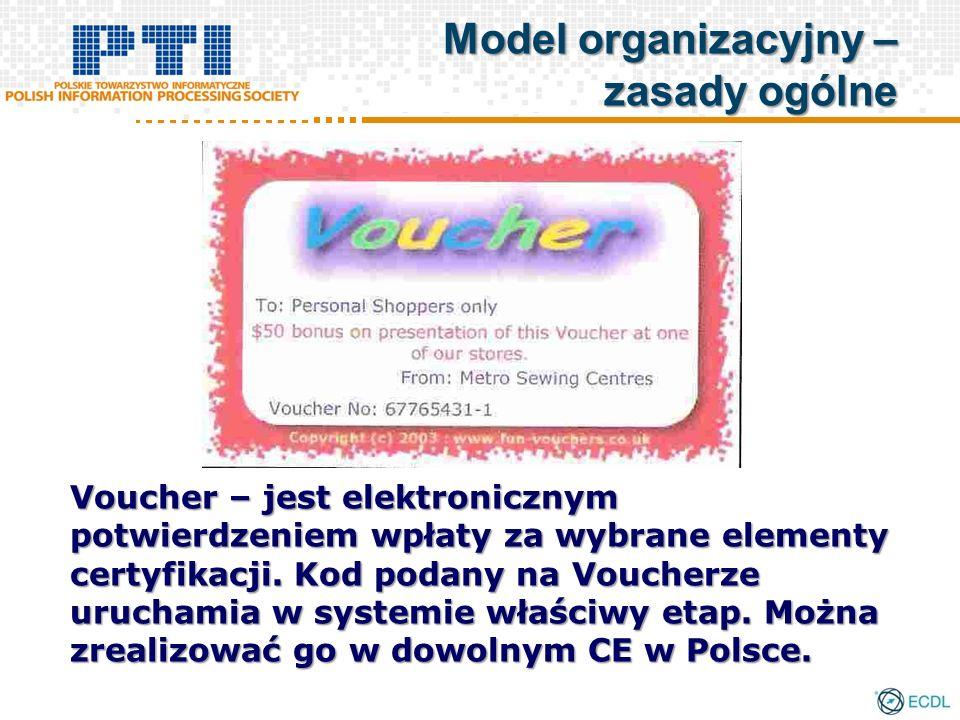 Voucher – jest elektronicznym potwierdzeniem wpłaty za wybrane elementy certyfikacji. Kod podany na Voucherze uruchamia w systemie właściwy etap. Możn