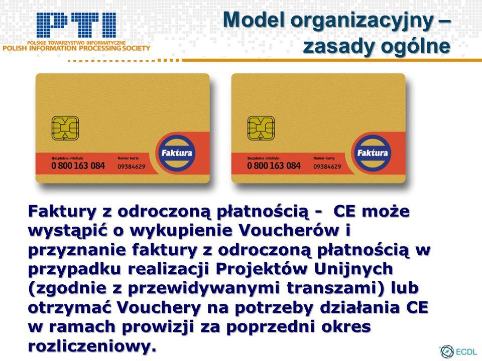 Faktury z odroczoną płatnością - CE może wystąpić o wykupienie Voucherów i przyznanie faktury z odroczoną płatnością w przypadku realizacji Projektów Unijnych (zgodnie z przewidywanymi transzami) lub otrzymać Vouchery na potrzeby działania CE w ramach prowizji za poprzedni okres rozliczeniowy.