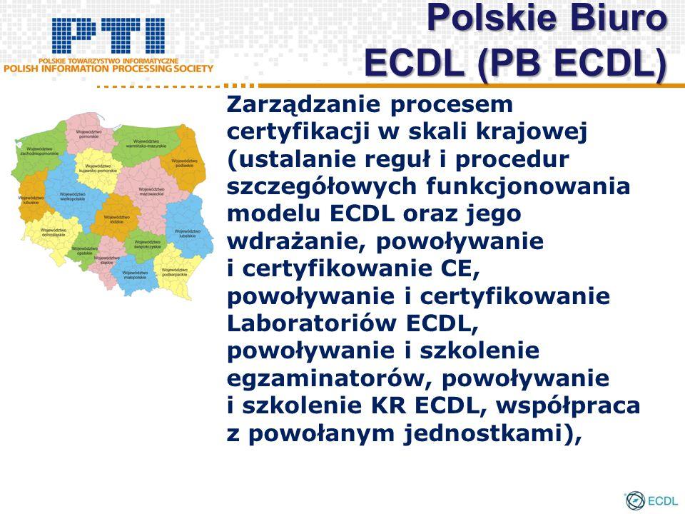 Zarządzanie procesem certyfikacji w skali krajowej (ustalanie reguł i procedur szczegółowych funkcjonowania modelu ECDL oraz jego wdrażanie, powoływanie i certyfikowanie CE, powoływanie i certyfikowanie Laboratoriów ECDL, powoływanie i szkolenie egzaminatorów, powoływanie i szkolenie KR ECDL, współpraca z powołanym jednostkami), Polskie Biuro ECDL (PB ECDL)