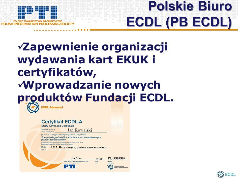 Zapewnienie organizacji wydawania kart EKUK i certyfikatów, Wprowadzanie nowych produktów Fundacji ECDL. Polskie Biuro ECDL (PB ECDL)