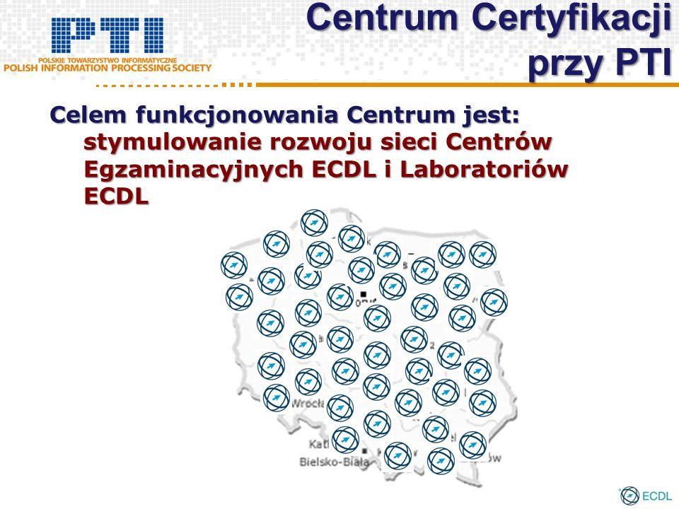 Centrum Certyfikacji przy PTI Celem funkcjonowania Centrum jest: stymulowanie rozwoju sieci Centrów Egzaminacyjnych ECDL i Laboratoriów ECDL