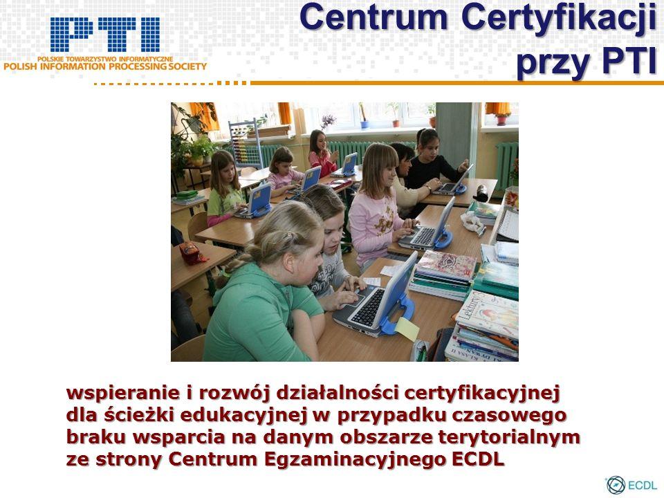 wspieranie i rozwój działalności certyfikacyjnej dla ścieżki edukacyjnej w przypadku czasowego braku wsparcia na danym obszarze terytorialnym ze strony Centrum Egzaminacyjnego ECDL Centrum Certyfikacji przy PTI
