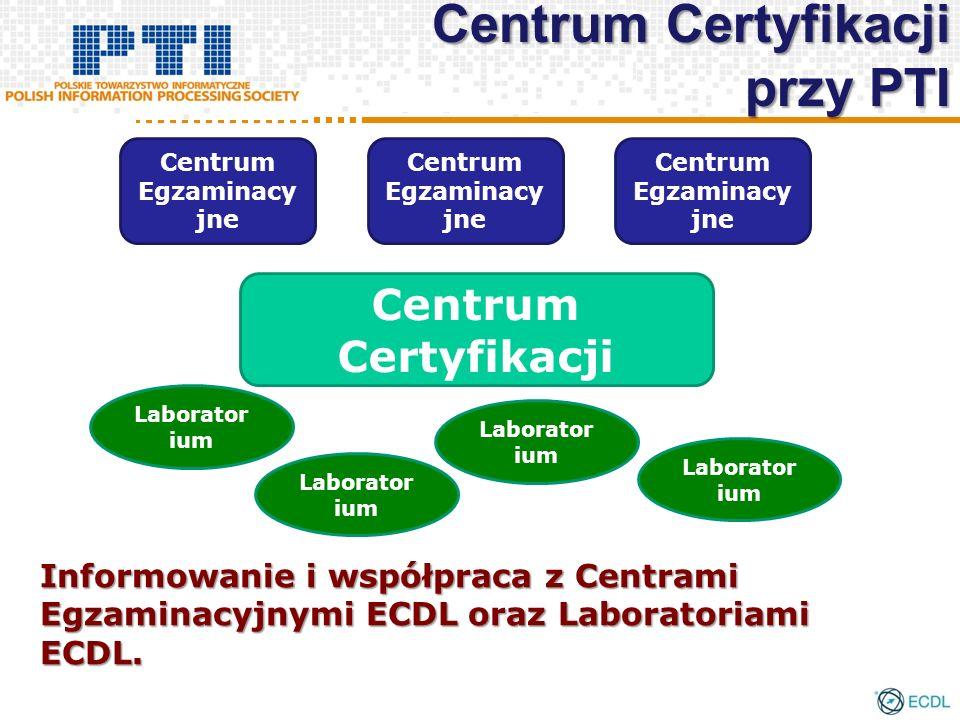 Informowanie i współpraca z Centrami Egzaminacyjnymi ECDL oraz Laboratoriami ECDL. Centrum Certyfikacji Centrum Egzaminacy jne Laborator ium Centrum C