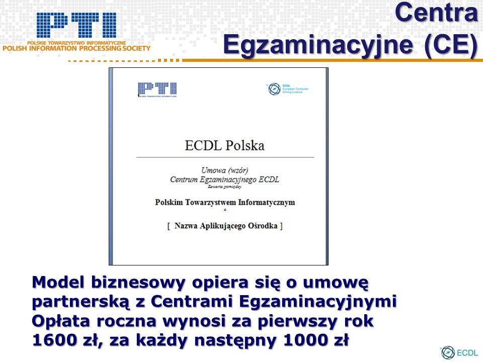 Model biznesowy opiera się o umowę partnerską z Centrami Egzaminacyjnymi Opłata roczna wynosi za pierwszy rok 1600 zł, za każdy następny 1000 zł Centra Egzaminacyjne (CE)