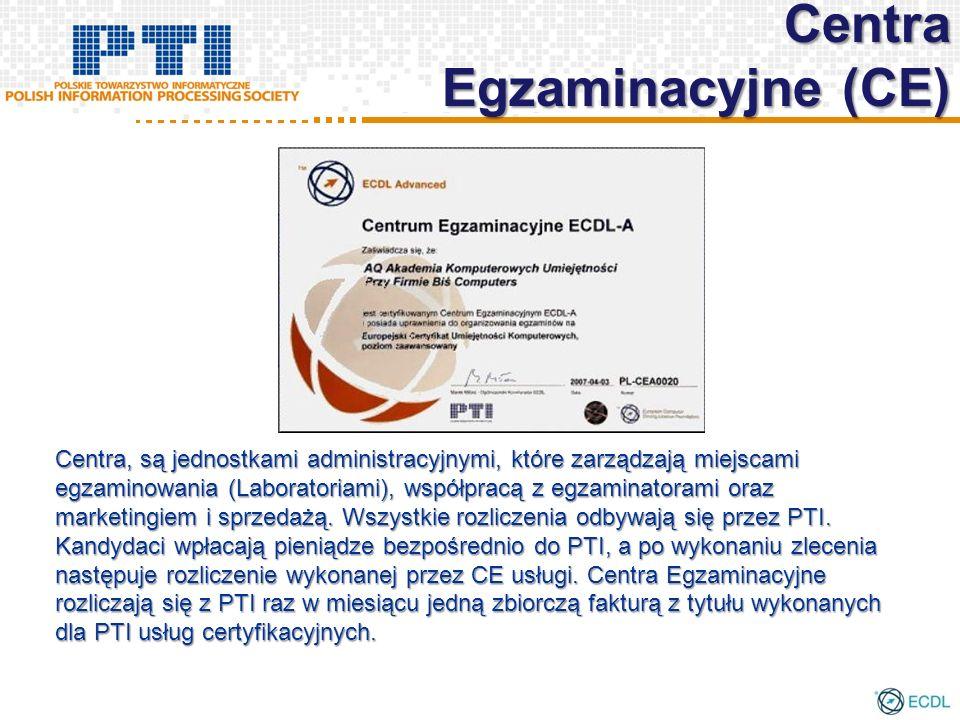 Centra, są jednostkami administracyjnymi, które zarządzają miejscami egzaminowania (Laboratoriami), współpracą z egzaminatorami oraz marketingiem i sp
