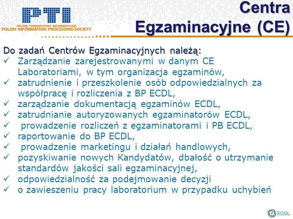 Do zadań Centrów Egzaminacyjnych należą: Zarządzanie zarejestrowanymi w danym CE Laboratoriami, w tym organizacja egzaminów, zatrudnienie i przeszkolenie osób odpowiedzialnych za współpracę i rozliczenia z BP ECDL, zarządzanie dokumentacją egzaminów ECDL, zatrudnianie autoryzowanych egzaminatorów ECDL, prowadzenie rozliczeń z egzaminatorami i PB ECDL, raportowanie do BP ECDL, prowadzenie marketingu i działań handlowych, pozyskiwanie nowych Kandydatów, dbałość o utrzymanie standardów jakości sali egzaminacyjnej, odpowiedzialność za podejmowanie decyzji o zawieszeniu pracy laboratorium w przypadku uchybień Centra Egzaminacyjne (CE)