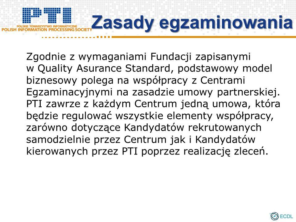 Zasady egzaminowania Zgodnie z wymaganiami Fundacji zapisanymi w Quality Asurance Standard, podstawowy model biznesowy polega na współpracy z Centrami Egzaminacyjnymi na zasadzie umowy partnerskiej.