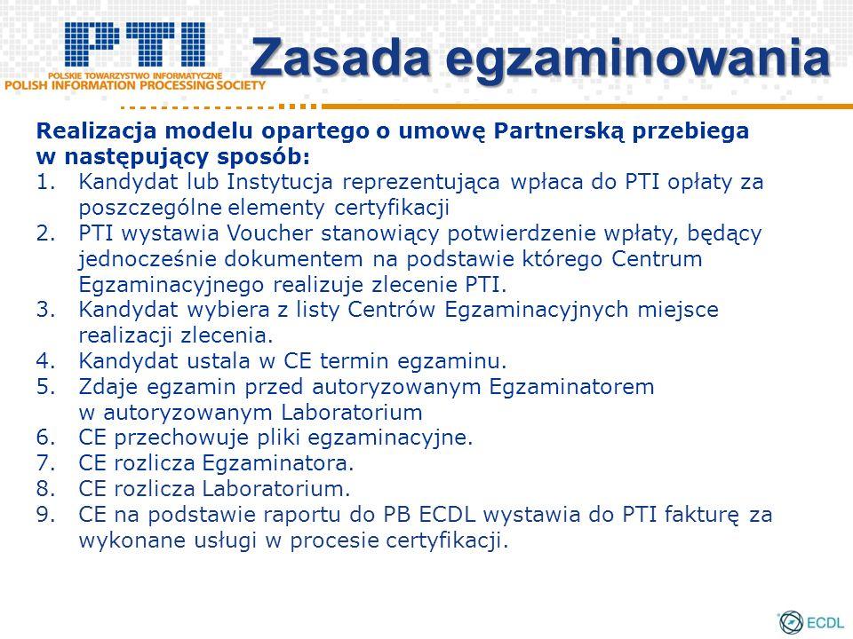 Zasada egzaminowania Realizacja modelu opartego o umowę Partnerską przebiega w następujący sposób: 1.Kandydat lub Instytucja reprezentująca wpłaca do