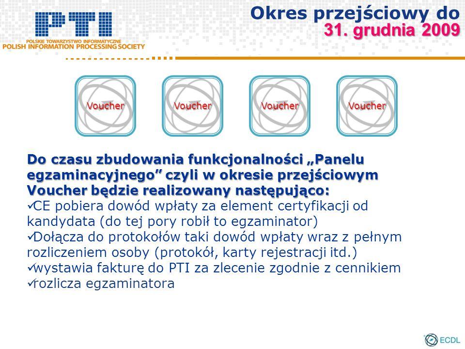 Do czasu zbudowania funkcjonalności Panelu egzaminacyjnego czyli w okresie przejściowym Voucher będzie realizowany następująco: CE pobiera dowód wpłaty za element certyfikacji od kandydata (do tej pory robił to egzaminator) Dołącza do protokołów taki dowód wpłaty wraz z pełnym rozliczeniem osoby (protokół, karty rejestracji itd.) wystawia fakturę do PTI za zlecenie zgodnie z cennikiem rozlicza egzaminatora VoucherVoucherVoucherVoucher 31.