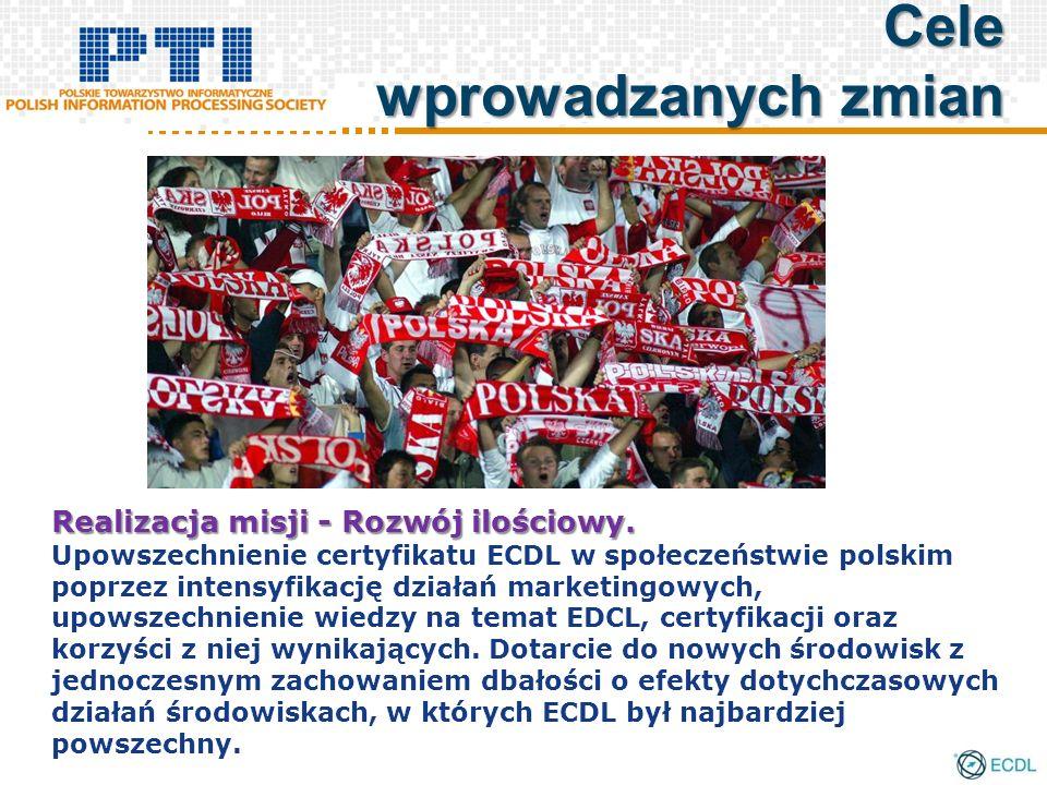 Realizacja misji - Rozwój ilościowy. Upowszechnienie certyfikatu ECDL w społeczeństwie polskim poprzez intensyfikację działań marketingowych, upowszec