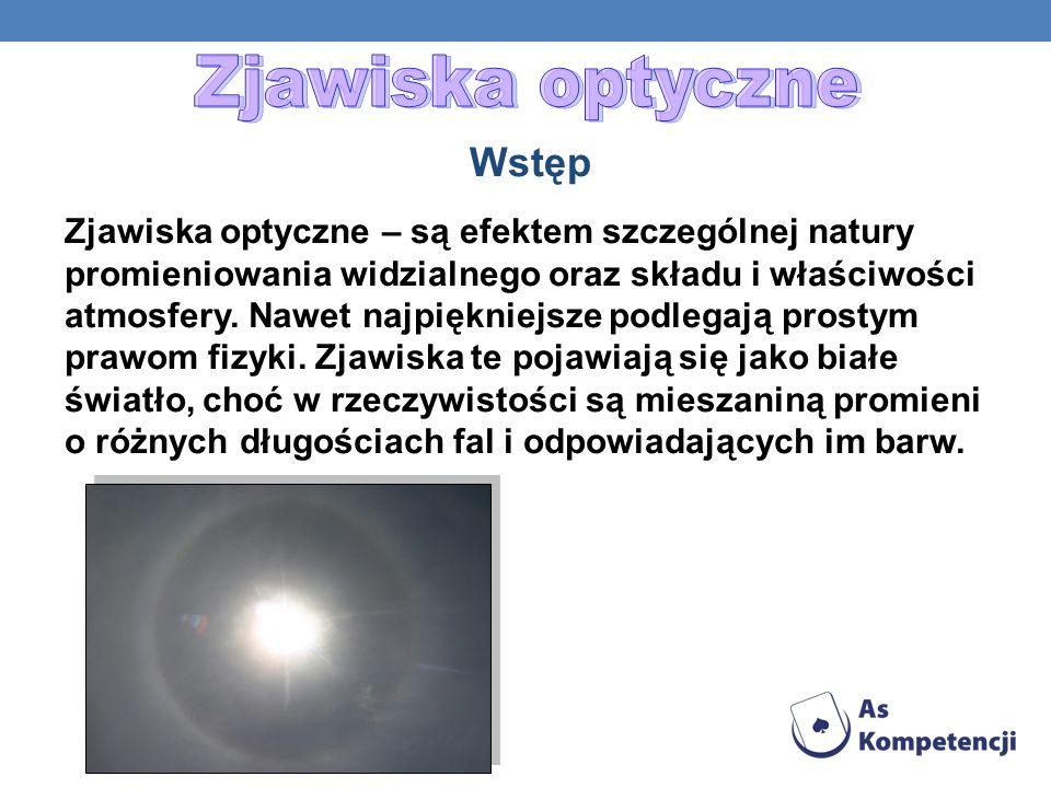 Zjawiska optyczne – są efektem szczególnej natury promieniowania widzialnego oraz składu i właściwości atmosfery. Nawet najpiękniejsze podlegają prost