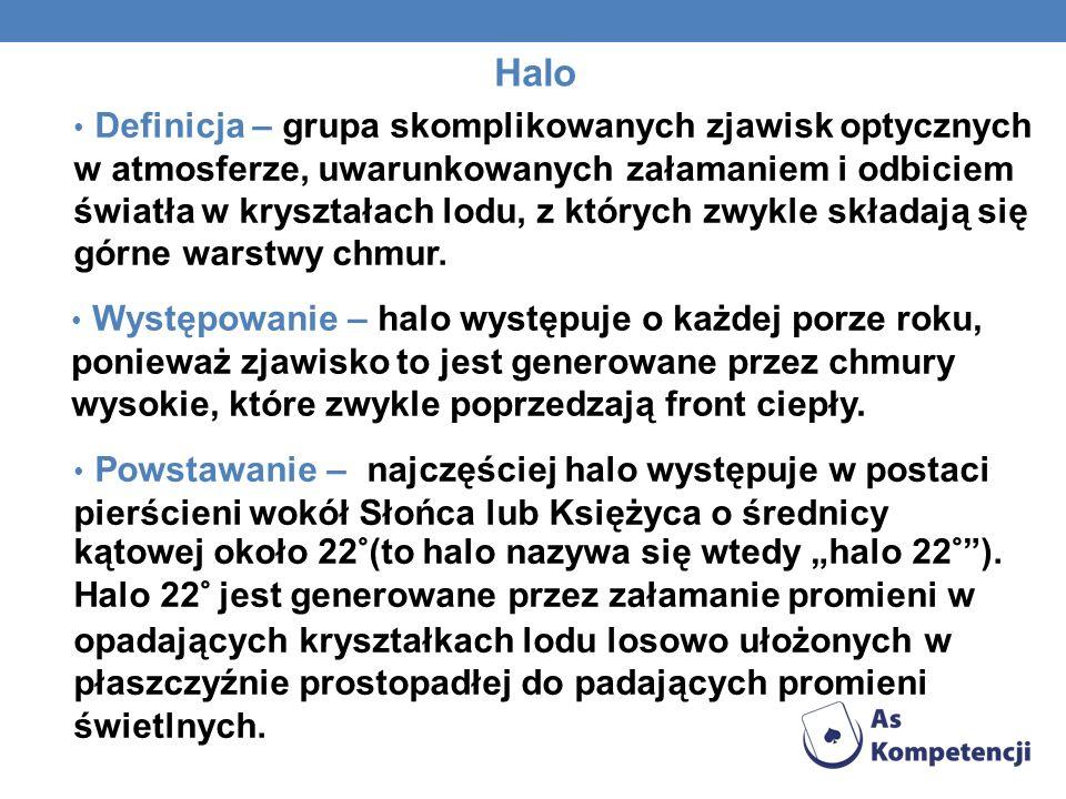 Halo Definicja – grupa skomplikowanych zjawisk optycznych w atmosferze, uwarunkowanych załamaniem i odbiciem światła w kryształach lodu, z których zwy