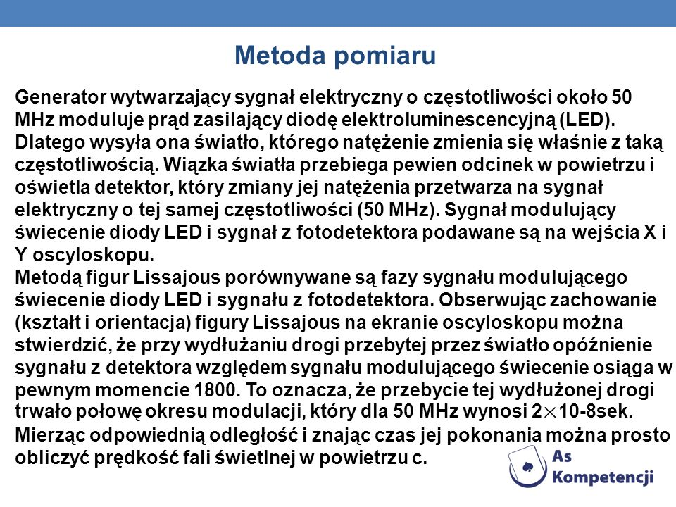 Generator wytwarzający sygnał elektryczny o częstotliwości około 50 MHz moduluje prąd zasilający diodę elektroluminescencyjną (LED). Dlatego wysyła on