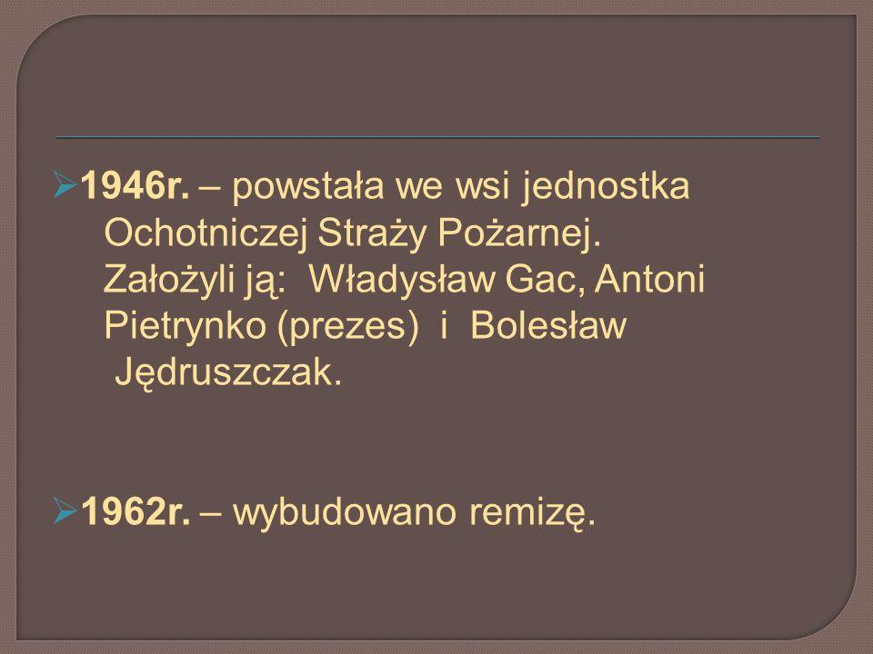 1946r. – powstała we wsi jednostka Ochotniczej Straży Pożarnej. Założyli ją: Władysław Gac, Antoni Pietrynko (prezes) i Bolesław Jędruszczak. 1962r. –