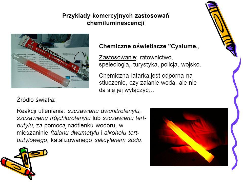 Źródło światła: Reakcji utleniania: szczawianu dwunitrofenylu, szczawianu trójchlorofenylu lub szczawianu tert- butylu, za pomocą nadtlenku wodoru, w