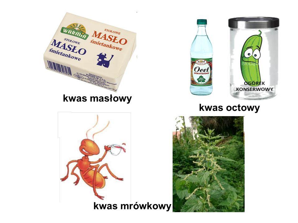 kwas octowy kwas masłowy kwas mrówkowy