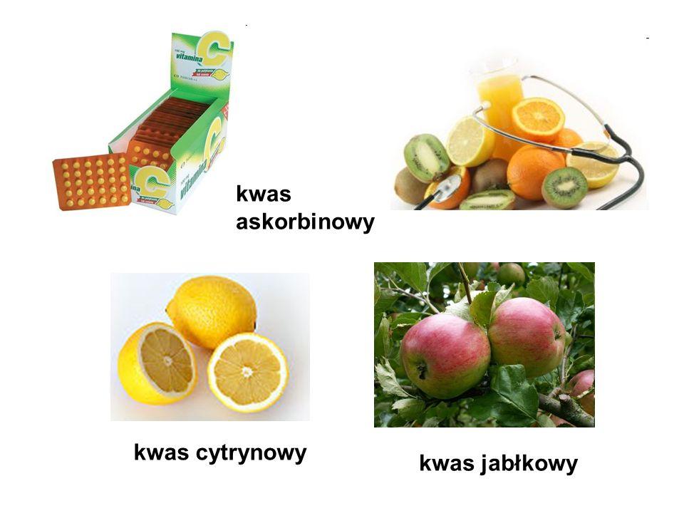 kwas askorbinowy kwas cytrynowy kwas jabłkowy