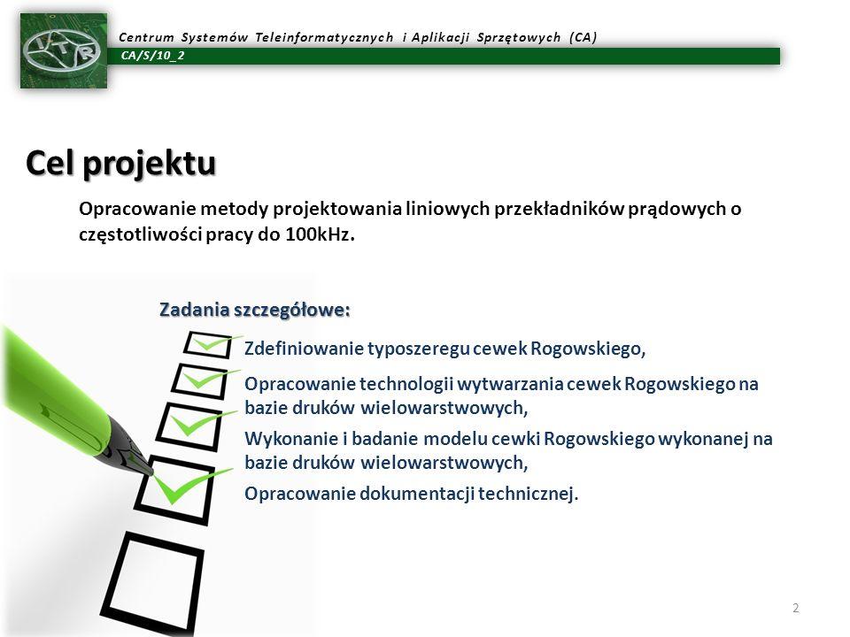 CA/S/10_2 Centrum Systemów Teleinformatycznych i Aplikacji Sprzętowych (CA) 2 Cel projektu Zadania szczegółowe: Zdefiniowanie typoszeregu cewek Rogows