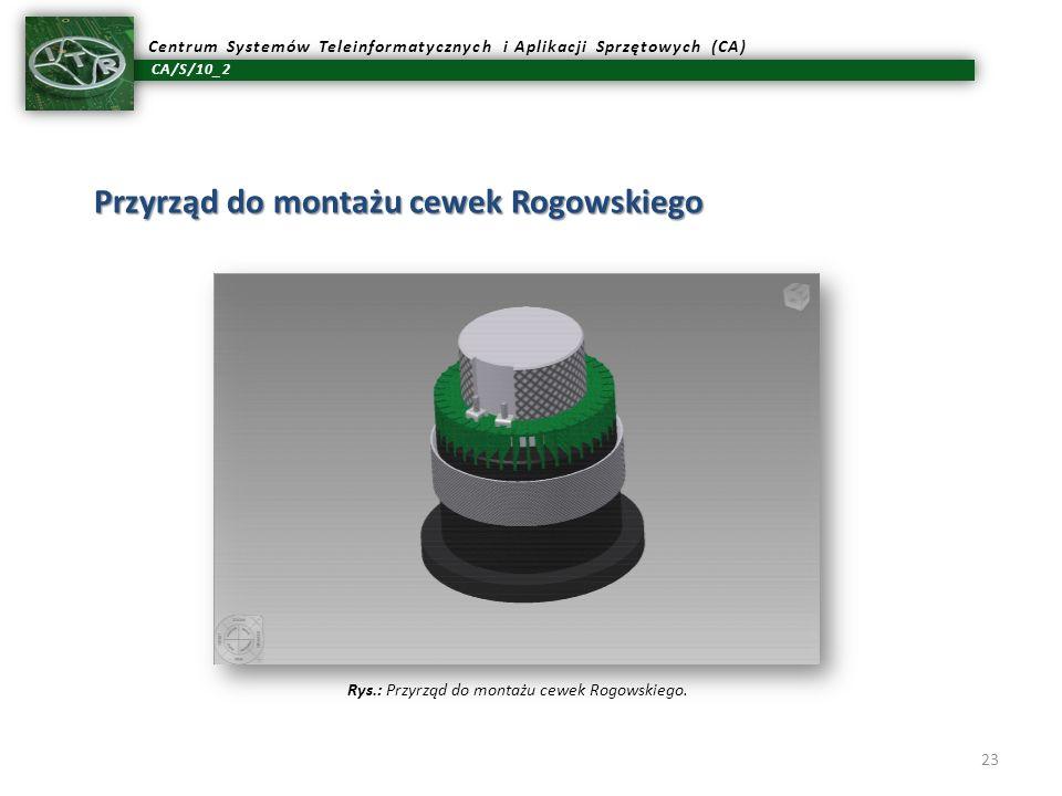 CA/S/10_2 Centrum Systemów Teleinformatycznych i Aplikacji Sprzętowych (CA) 23 Przyrząd do montażu cewek Rogowskiego Rys.: Przyrząd do montażu cewek R