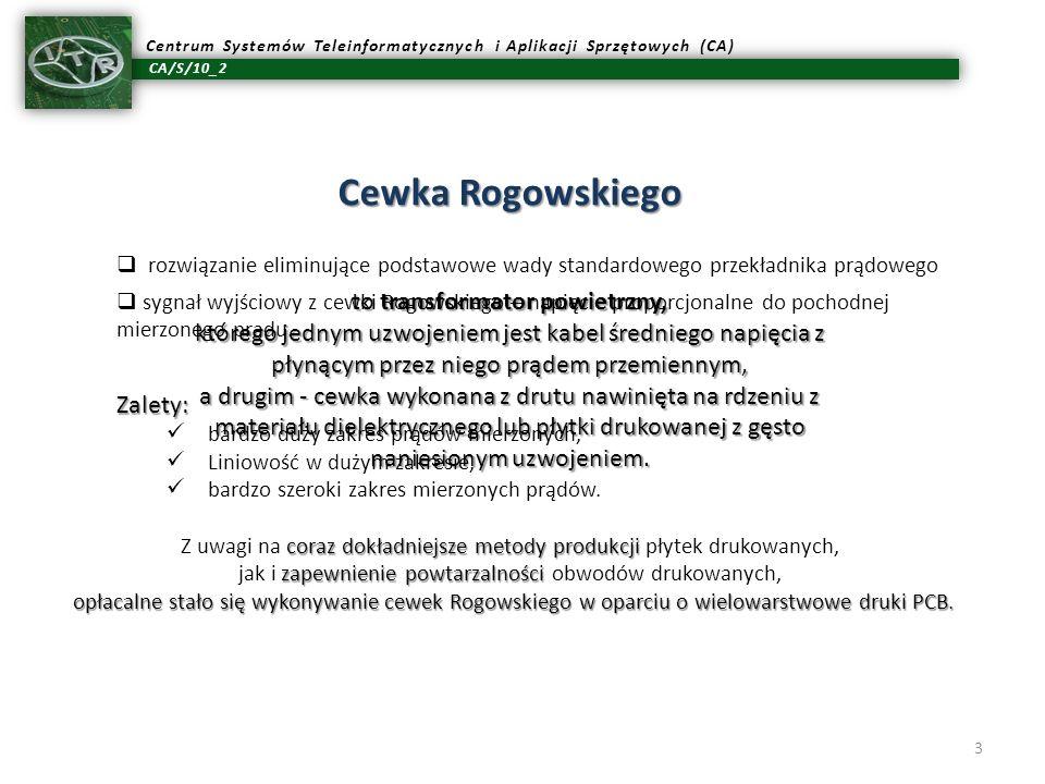 CA/S/10_2 Centrum Systemów Teleinformatycznych i Aplikacji Sprzętowych (CA) 3 Cewka Rogowskiego to transformator powietrzny, którego jednym uzwojeniem