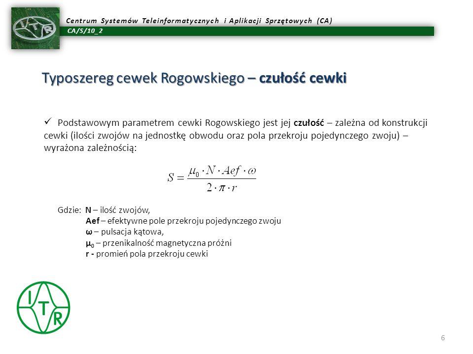 CA/S/10_2 Centrum Systemów Teleinformatycznych i Aplikacji Sprzętowych (CA) Typoszereg cewek Rogowskiego – czułość cewki 6 Podstawowym parametrem cewk