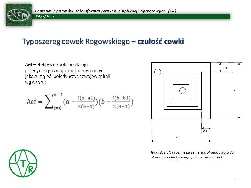 CA/S/10_2 Centrum Systemów Teleinformatycznych i Aplikacji Sprzętowych (CA) Typoszereg cewek Rogowskiego – czułość cewki 7 a a1a1 b b1 Aef – efektywne
