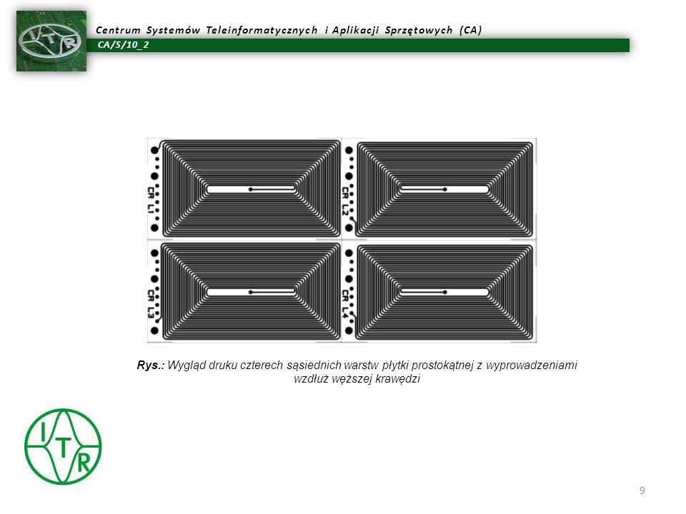 CA/S/10_2 Centrum Systemów Teleinformatycznych i Aplikacji Sprzętowych (CA) Rys.: Wygląd druku czterech sąsiednich warstw płytki prostokątnej z wyprow