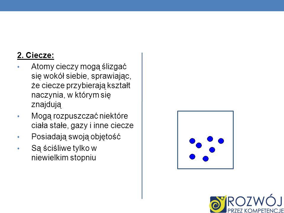 2. Ciecze: Atomy cieczy mogą ślizgać się wokół siebie, sprawiając, że ciecze przybierają kształt naczynia, w którym się znajdują Mogą rozpuszczać niek